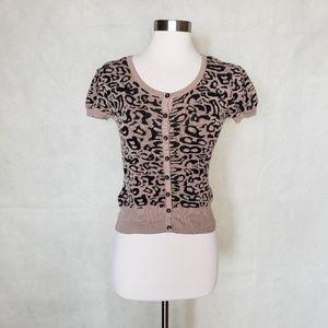 🌼{ xoxo } leopard print short sleeve cardigan